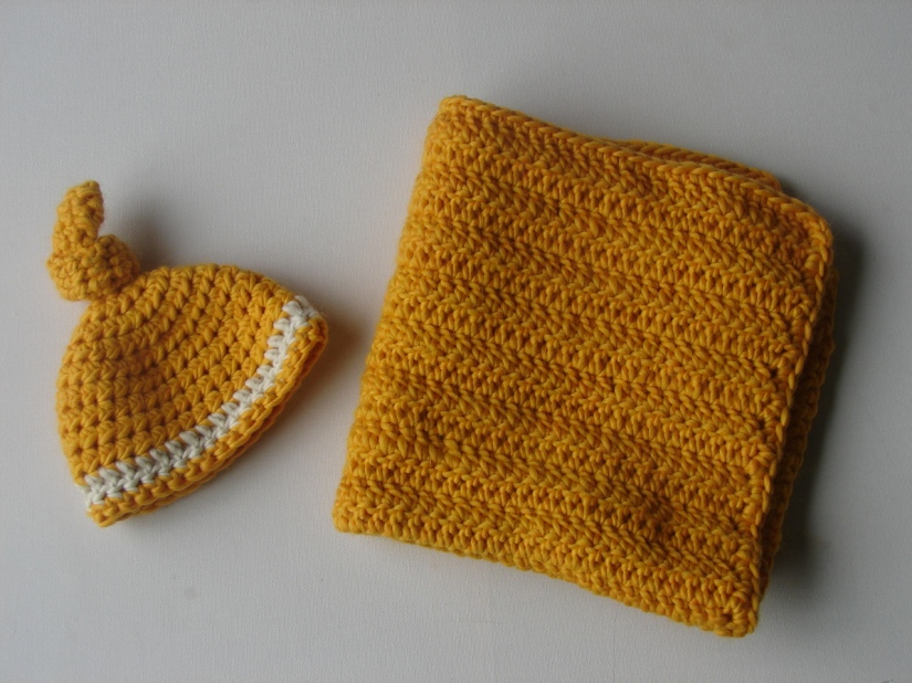 knot beanie and matching blanket/wrap