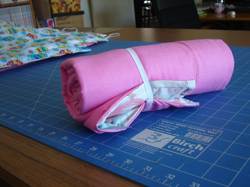 wrap elastic around mat to secure
