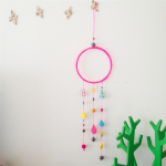 Raindrop wall hanging, dream catcher in pinks