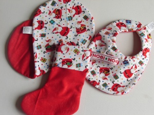 bib, burp cloth and mini Christmas stocking