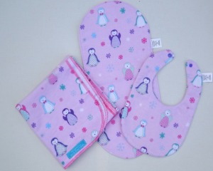 penguin pink frozen snow flake swaddle blanket bib burp cloth set